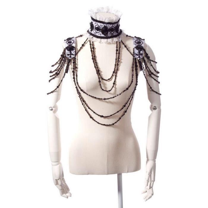Ras de cou noir et blanc avec pierres, épaulettes et chaînes de perles RQBL