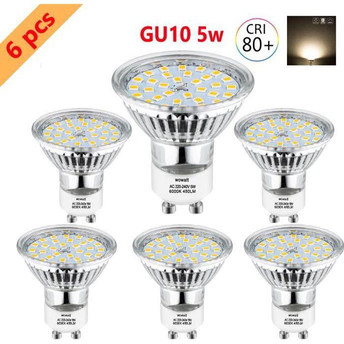 Led 6x 2835 Lumiere Halogène 32 Faisceaux Ampoule Smd 5w Eqv 40w Lampe Blanc 6000k Wowatt Froid 120° Larges Gu10 Spot c5RjA4L3q