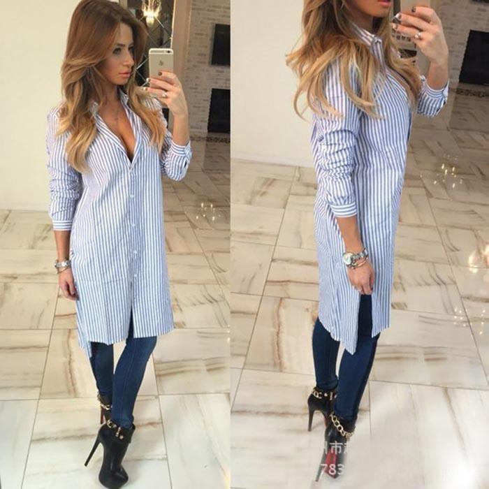 chemise femme longue manche longue 2016 mode blanc bleu. Black Bedroom Furniture Sets. Home Design Ideas