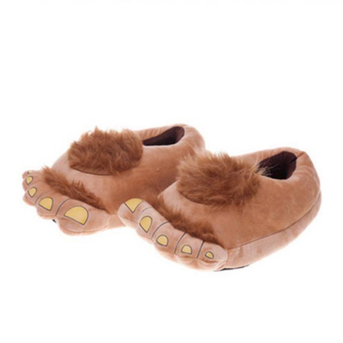 Accueil Pantoufles Femme Homme Peluche Coton rembourré Hobbit Big Chaussons Pieds de sol confortables chaude bear claw slipper