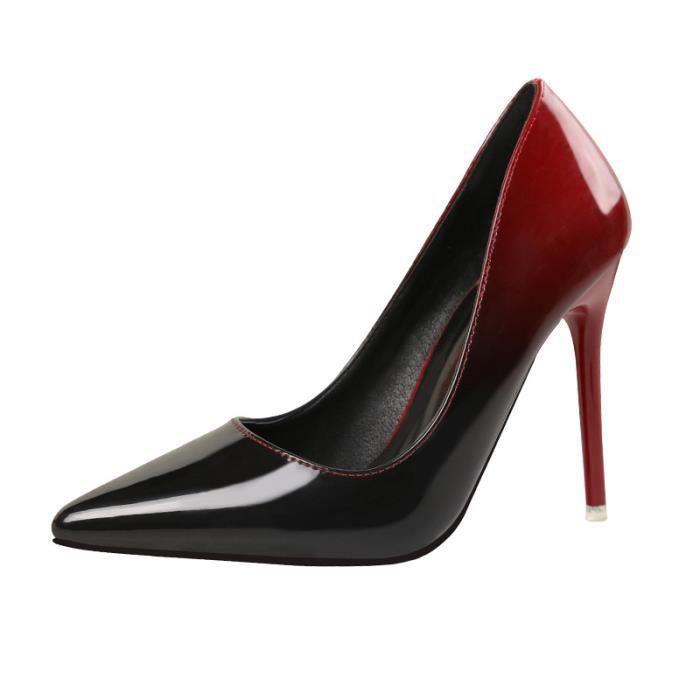 Femmes Mode vin rouge dégradé couleur pompes en cuir talons hauts chaussures stilettos pour mariage / fête / cadeau de Noël