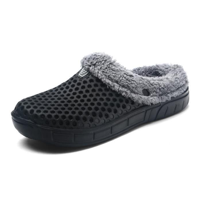 Loafer Homme de maison des pantoufles Antidérapant Peluche courte Pantoufle d'intérieur Chaud Moccasins hommes Plus Taille pDXjsmsSnn
