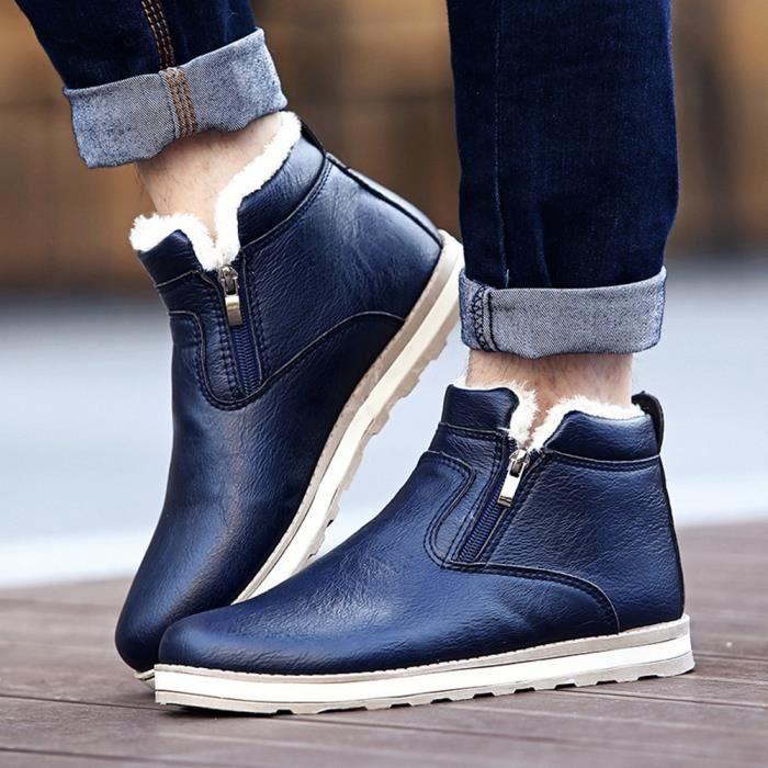 Bleu Hiver Chaussures Neige Casual En Mode Chaud Bottes Peluche Hommes De vftqxdOWwv