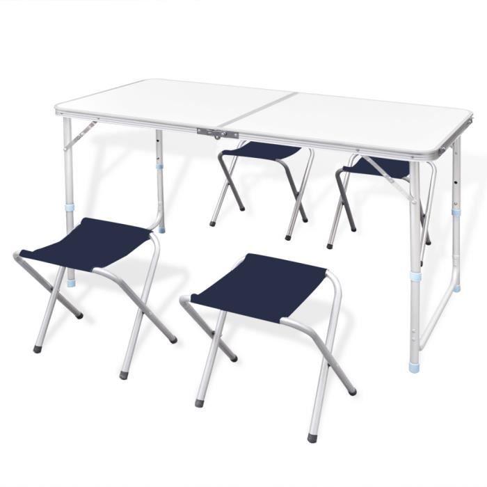 TABLE ET CHAISES CAMPING Table Pliante De Camping Hauteur Ajustable Avec 4