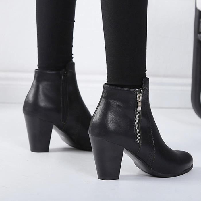 Napoulen Chunky Talons Cheville Noir Éclair Vintage Courte Chaussures Épais Fermeture Bottines Talon Femmes Botte xARwrA