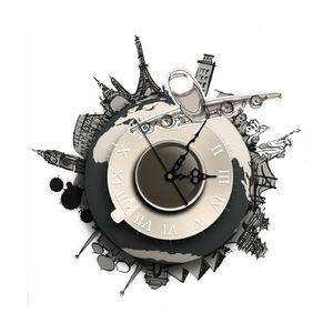 HORLOGE - PENDULE Bricolage Stickers muraux 3D Horloge mondiale Terr