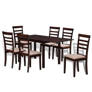 table a manger maron conplet achat vente pas cher