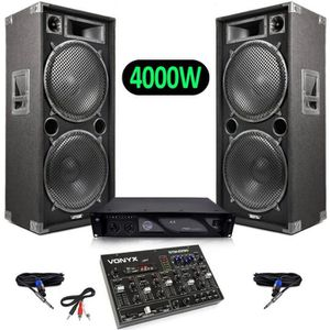 PACK SONO Pack Sono Enceintes 4000W + Table de mixage 8 cana