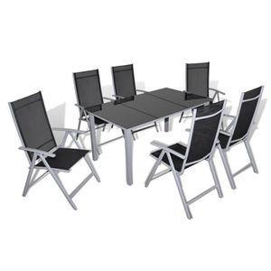 Ensemble de jardin noir /gris 1 table et 6 chaises - Achat / Vente ...