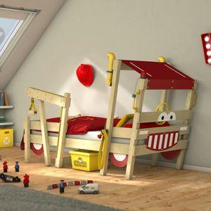 LIT COMBINE  Lit enfant design Pompier - Lit simple en bois mas
