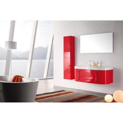 Meuble salle de bain double vasque rouge laqué brillant 120 cm MIA ...