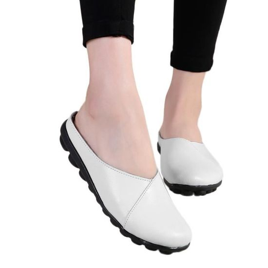Flats femmes Pure Color Soft Chaussures fond mou Slip-On Chaussures bateau Casual  blanc Blanc Blanc - Achat / Vente slip-on
