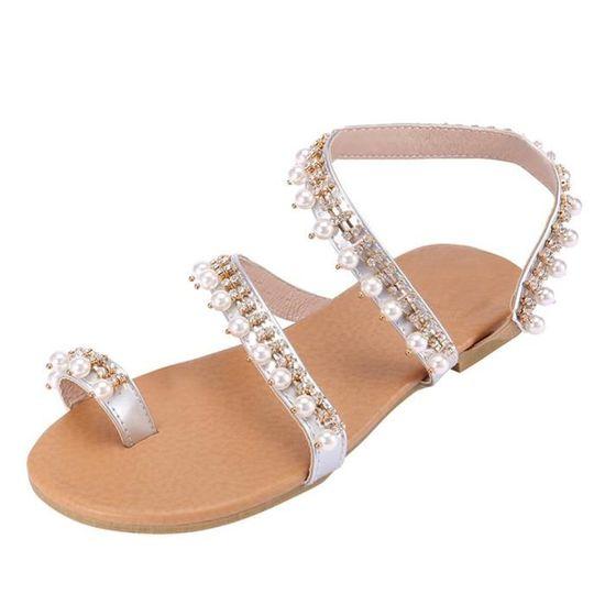 Plates Argent Cuir Plage Femmes A5l43qrj Mode Sandales De Vintage Perles rQCeEBdxoW