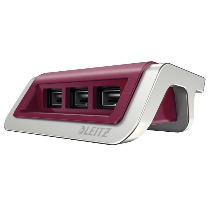 LEITZ - Power chargeur Style 3 ports USB - rouge