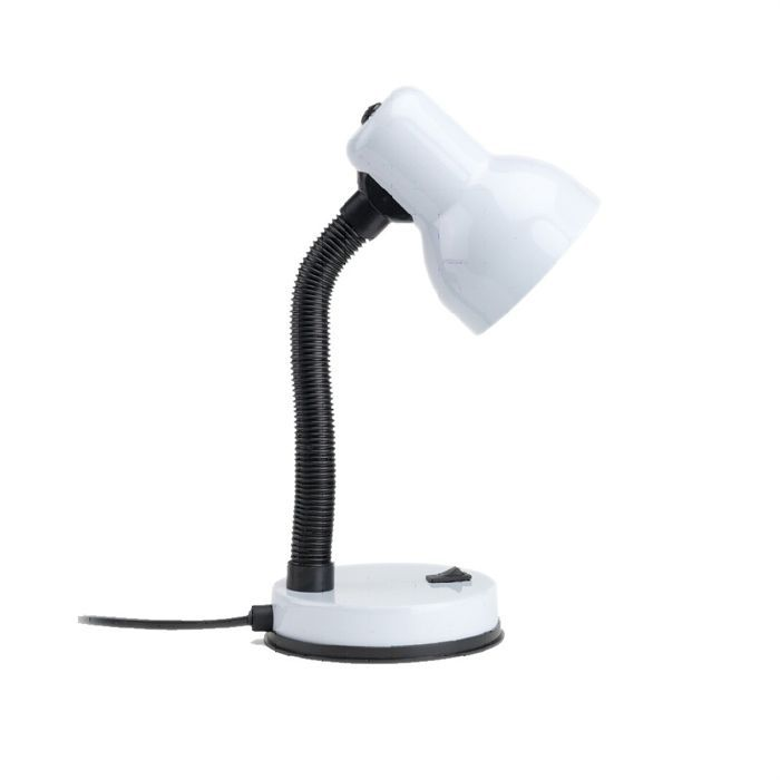Lampe de bureau métal laqué blanche - Tige flexible - Coloris : blanc - Ampoule requise : E14 maxi 25 W (non incluse) - Interrupteur marche/arrêt s...LAMPE A POSER