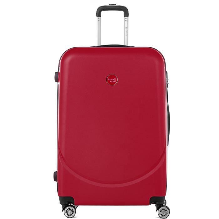 TRAVEL WORLD Trolley Case XXL 80cm avec 4 roues Rouge Foncé