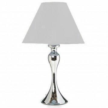 Lampe Pied Metal Argente Abat Jour Blanc Achat Vente Lampe Pied