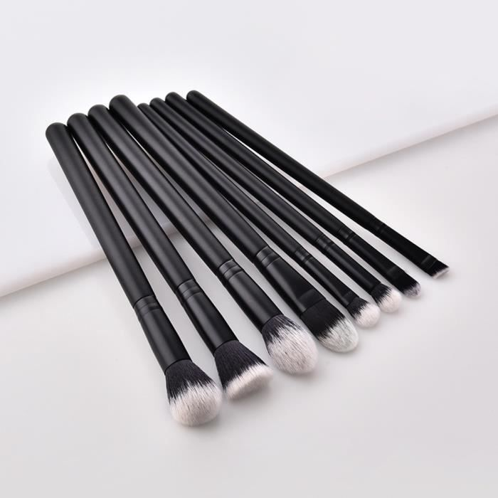 PINCEAUX DE MAQUILLAGE 8 pièces - manche en bois - noir noir - cheveux no