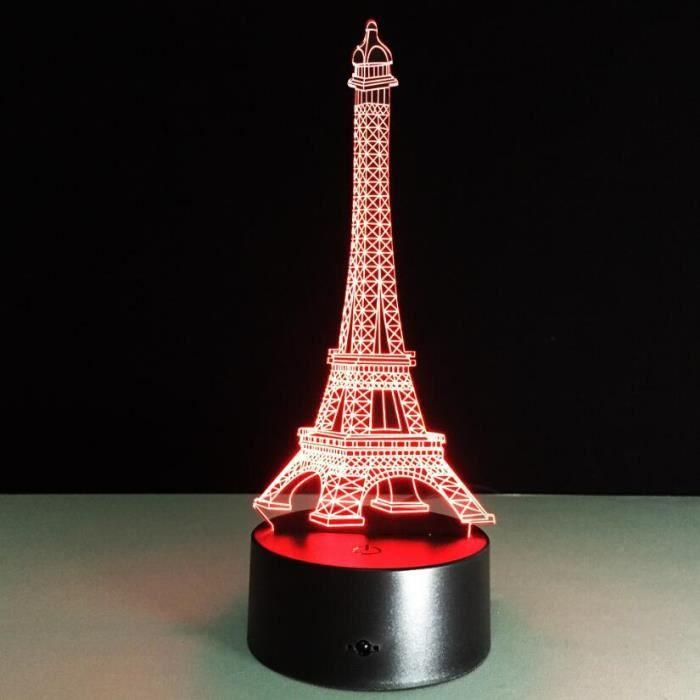 Clignotant Pour Acrylique Led Couleurs Lampe Cadeau Enfants De En 3d Forme Lumière Tour 7 Chevet Eiffel Créative Nuit fYgy7b6