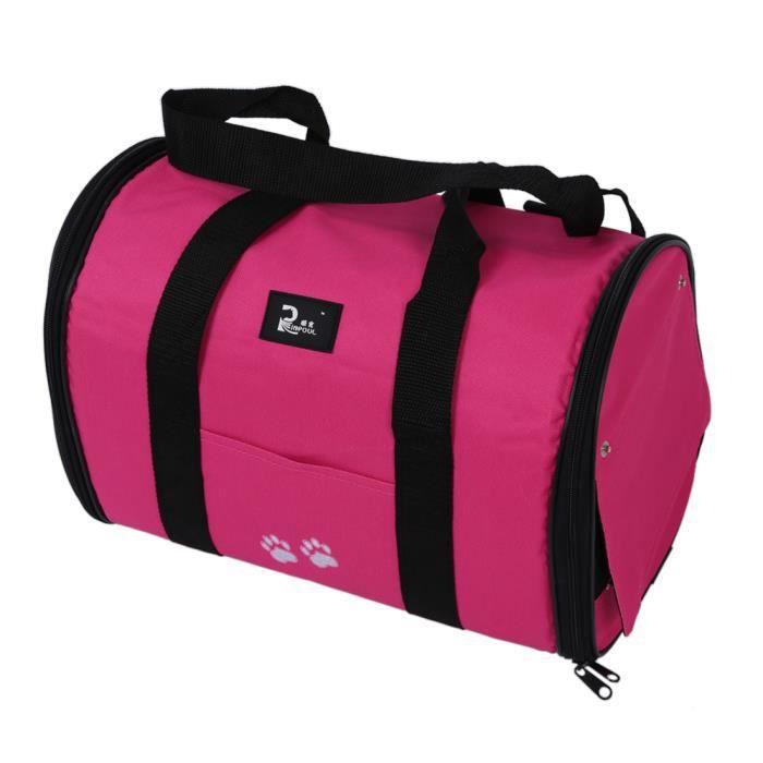 M Chat Chien Puppy Portable Voyage Transporteur Sac Fourre-tout Caisses Kennel - Rose Rouge