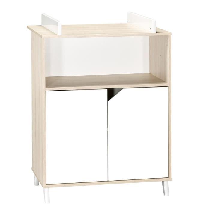 TABLE À LANGER Babyprice - SCANDI NATUREL - Commode 2 Portes et 1