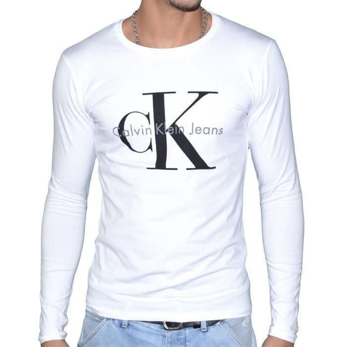 Tee Shirt Calvin Klein Homme Manches Longues Blanc Blanc Blanc
