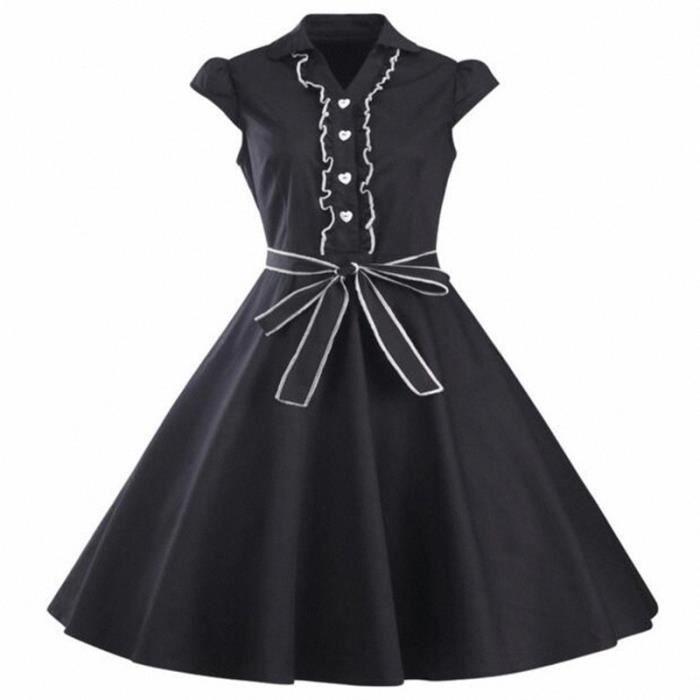 Femme Robe Vintage Années 50 Robe de Bal Polka Pin-up Audrey Hepburn Rockabilly pour Soirée Cocktail 9 couleur
