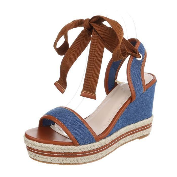 Chaussures femme sandale à talons hauts semelle compenséePlateau escarpin bleu 41