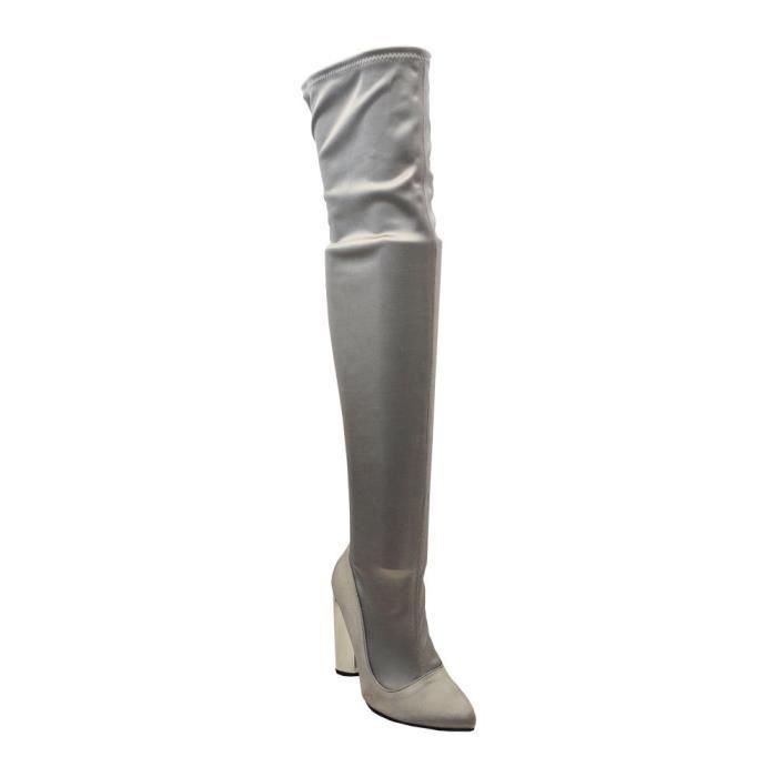 Parma-04x Femmes Pointy Toe Chunky talon métallique Plus Cuissardes SY12F Taille-38