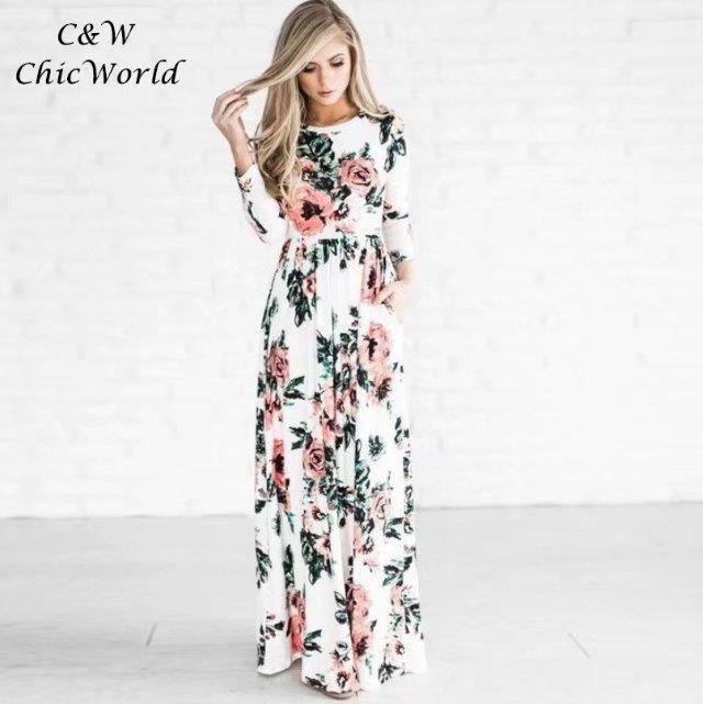 2018 Printemps été Imprimé Floral Longue Robe Blanc Taille élastique Slim  Manche Longue Grande Taille Robe Femme Européen Mode d3afd59cf0b