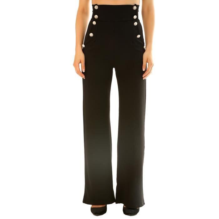 dmarkevous - Pantalon Noir chic femme Taille haute pattes d éph avec  boutons officier. - (S - noir) a2dbec14aee5