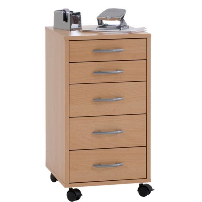 caisson de bureau sur roulettes avec 5 tiroirs coloris h tre l33 x h63 5 x p38 cm achat. Black Bedroom Furniture Sets. Home Design Ideas
