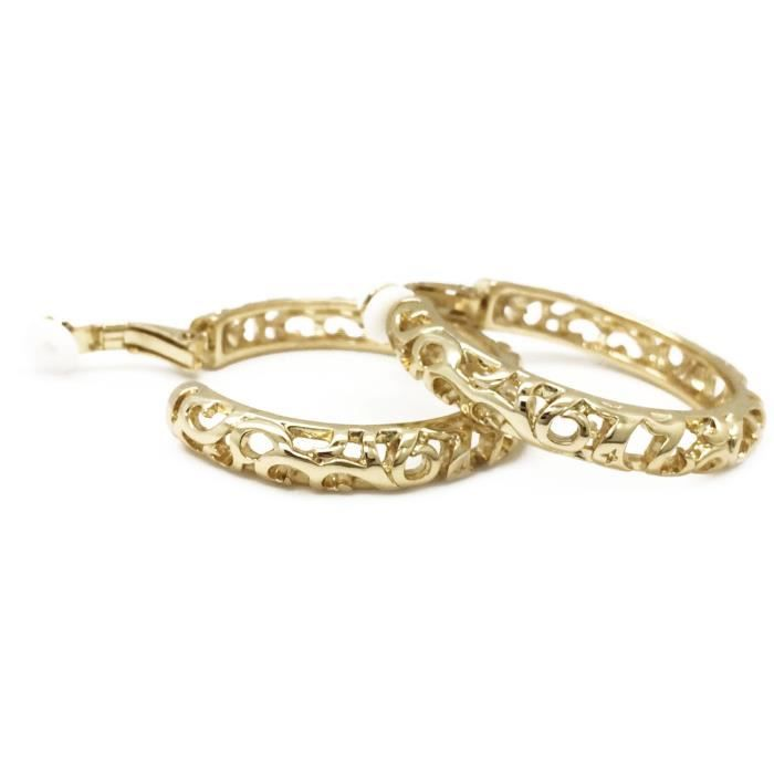 Womens Clip On Hoop Earrings Filigree Gold Plated Cutout Fashion DWVDR