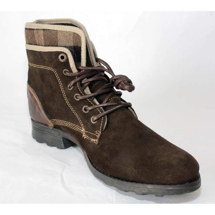 BOTTINES HOMME CHAUSSURES CUIR MARRONT 42 NEUVES Nyos5ma
