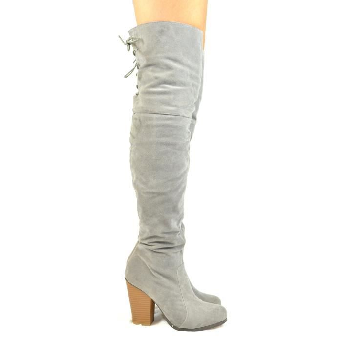 Max-2 Chunky Block Heel With Partial Side Zipper And Back Lace-up Tall Boot N1STA Taille-39