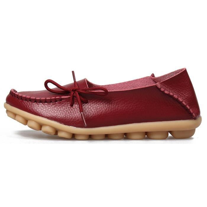 Chaussures de conduite à lacets en cuir de vachette Mocassins Chaussures bateau Flats GLKJC Taille-38
