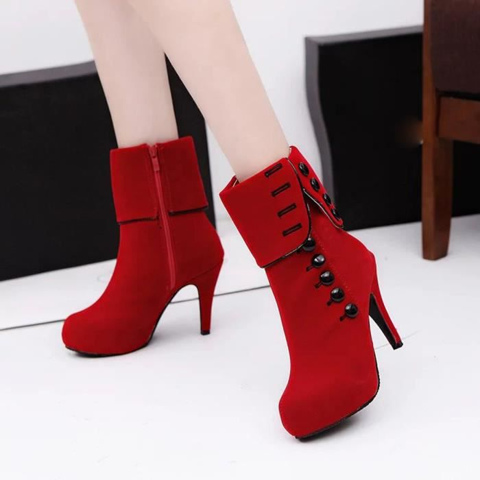 Femmes Bottines Hauts Talons Mode Rouge Chaussures Plate-Forme Boucle Hiver Bottes