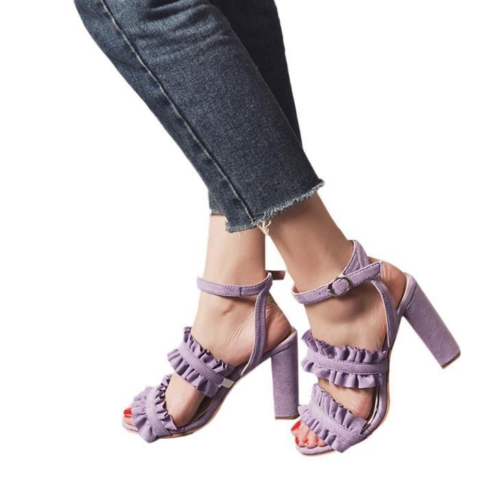 Boucle Strap Chaussures Fish Femmes Hauts Ouvert Mouth Toe Parti Dentelle Sandales Cheville Talons RBpOwxq