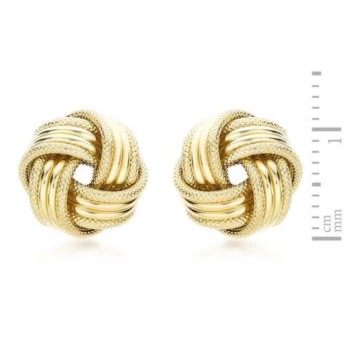 Femmes 9 Ct or jaune 11 mm Knot Boucles doreilles 1U6LLG