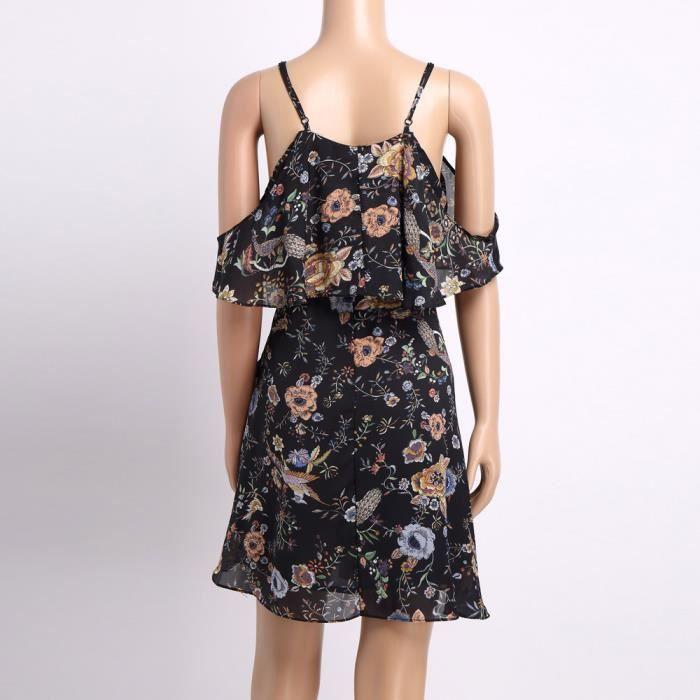 Deessesale®Mode femmes dames hors épaule imprimé longueur genou robe de soirée lâche Noir FJJ71213293