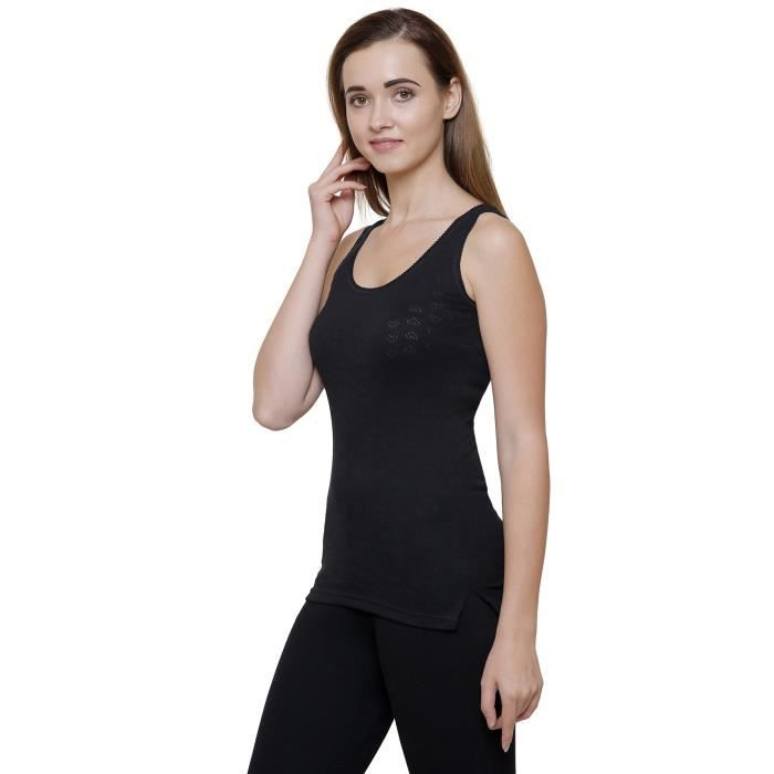 Taille Black Women's Solid Tkgp8 Thermal m Top 7FUXUqng