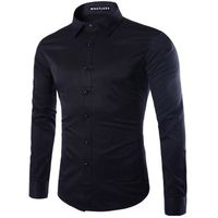 Chemise Homme Blanc Slim Fit Marque Luxe Manche...