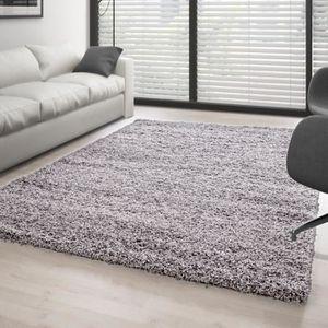 tapis tapis shaggy poils longs couleur unique differen - Tapis Gris