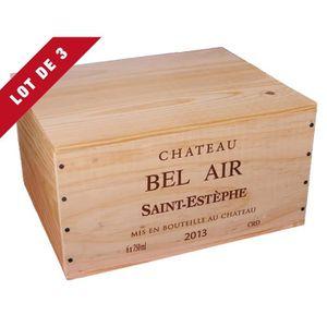 Boîte cadeau 3X La Caisse Bois 6x75cl estampillé Château Bel Ai