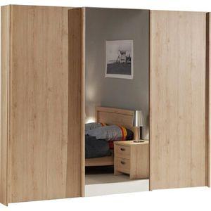 ARMOIRE DE CHAMBRE Armoire bois à 3 portes coulissantes couleur chêne