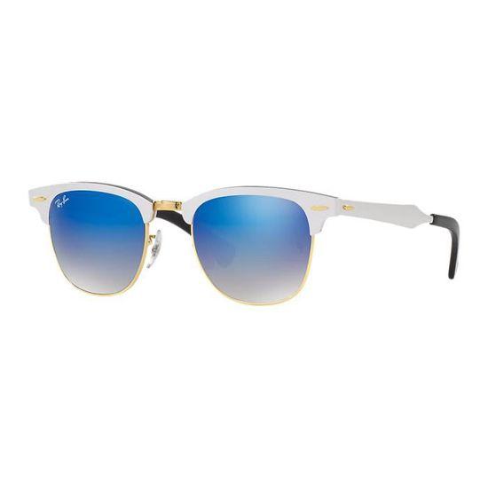 c43484738e469 Lunettes de soleil Ray-Ban Clubmaster Aluminium Argent Doré Bleu Miroité -  51 - Achat   Vente lunettes de soleil Mixte Adulte Argenté - Cdiscount