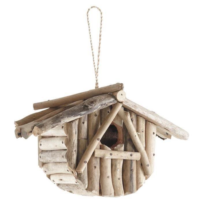 Nichoir oiseaux en bois flott achat vente nichoir for Rue du bois flotte