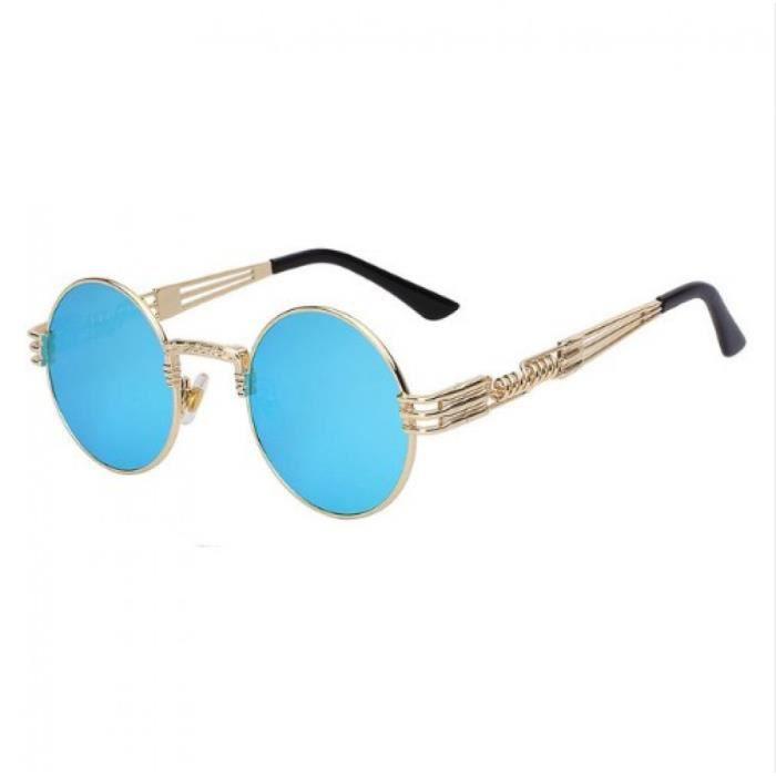 d3b0e14ab151c Lunette miroir ronde bleu doré - Achat   Vente lunettes de soleil ...