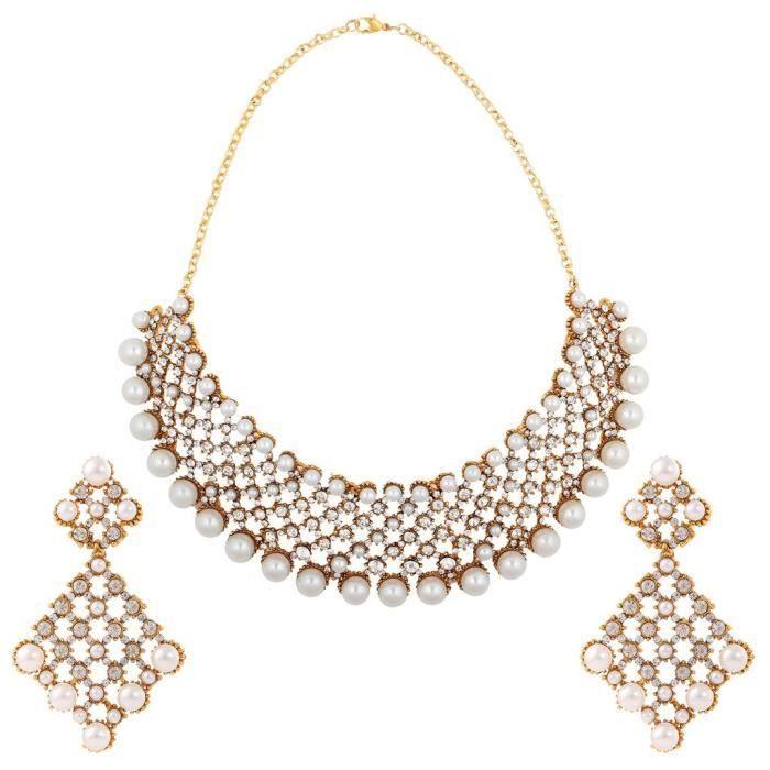 Femmes Antique mariée blanc Set métal en alliage avec collier bijoux et boucles doreilles pourZMXFX