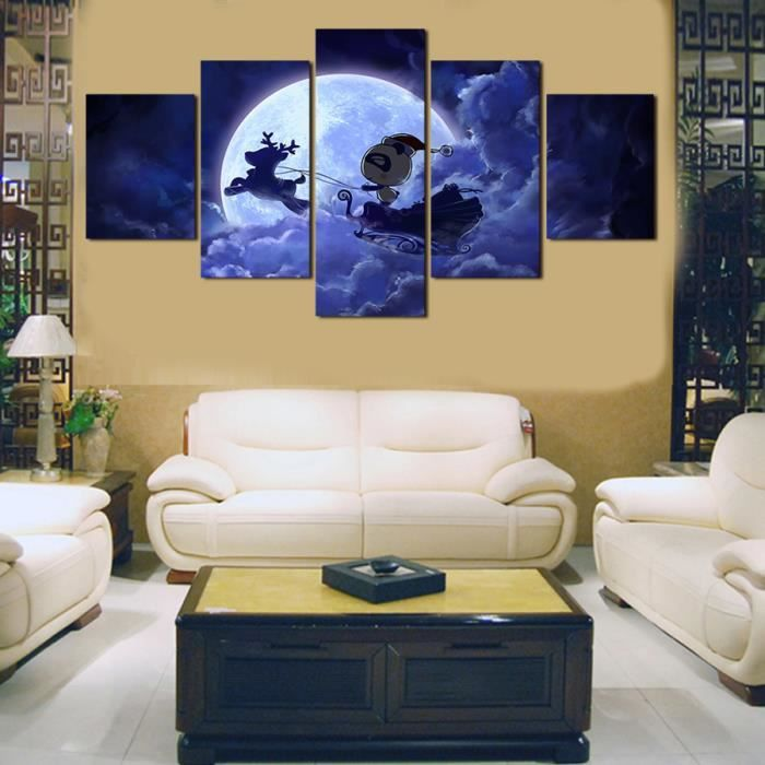 Peinture Photos Pour Salle De Séjour 5 Panneaux Romantique Nuit Art